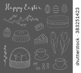 hand drawn outline easter eggs  ... | Shutterstock .eps vector #383251423