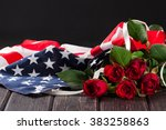 Rose And American Flag On Wood...