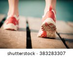 feet of jogging woman. summer... | Shutterstock . vector #383283307