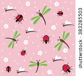 hand drawn dragonflies and... | Shutterstock .eps vector #383285503