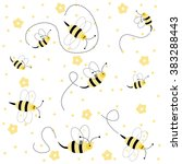 seamless pattern with bees | Shutterstock .eps vector #383288443
