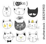 Print Cat. Set Of Cute Doodle...