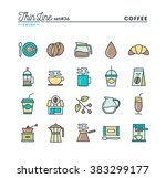 coffee  thin line color icons... | Shutterstock .eps vector #383299177