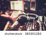 close up of boutique recording... | Shutterstock . vector #383301283