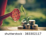 money and plant with hand with... | Shutterstock . vector #383302117