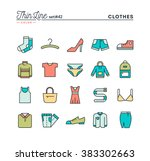 clothing  thin line color icons ... | Shutterstock .eps vector #383302663