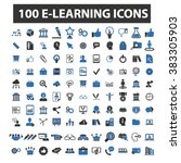 e learning icons | Shutterstock .eps vector #383305903