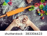 young girl's hands kneading... | Shutterstock . vector #383306623