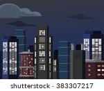 night cityscape. vector flat... | Shutterstock .eps vector #383307217