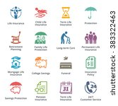 life insurance icons   colored... | Shutterstock .eps vector #383322463