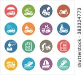 vehicle protection icons   dot... | Shutterstock .eps vector #383324773
