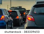 traffic jam with row of cars on ... | Shutterstock . vector #383339653