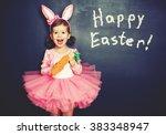 happy easter  child girl in... | Shutterstock . vector #383348947