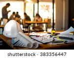 architectural office desk... | Shutterstock . vector #383356447