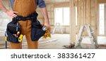builder handyman in new house. | Shutterstock . vector #383361427