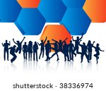 illustration of people jumping | Shutterstock .eps vector #38336974
