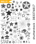 hand drawn set   stars | Shutterstock .eps vector #383376817