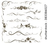 Vector set of floral calligraphic elements, dividers and rose ornaments for page decoration. Decorative silhouettes for wedding cards and invitations. Vintage flowers and leaves