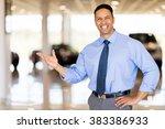 friendly vehicle salesman... | Shutterstock . vector #383386933
