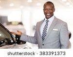 friendly african car dealer... | Shutterstock . vector #383391373