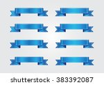 vector ribbon banners.set of... | Shutterstock .eps vector #383392087