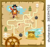 pirate maze. labyrinth game....   Shutterstock .eps vector #383394703