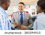handsome vehicle dealer talking ... | Shutterstock . vector #383394913