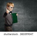 school child in glasses thumbs... | Shutterstock . vector #383399047
