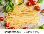 italian pasta with tomatoes ... | Shutterstock . vector #383414443