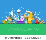 set of cleaning supplies. vector | Shutterstock .eps vector #383420287