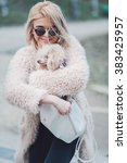 Small photo of young caucasian cute girl portrait with dog outdoor in park walking happy and smila all the way