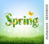 spring poster with gradient... | Shutterstock .eps vector #383428033