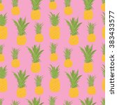 pineapple seamless pattern  | Shutterstock .eps vector #383433577