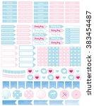 set rainy day printable planner ... | Shutterstock .eps vector #383454487