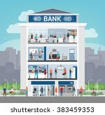 bank building with people... | Shutterstock .eps vector #383459353