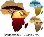 africa map landscapes  three... | Shutterstock .eps vector #383469793