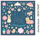 hello spring card. cute hand... | Shutterstock .eps vector #383473687