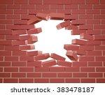 breaking through a brick wall... | Shutterstock .eps vector #383478187