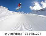 flying snowboarder on mountains.... | Shutterstock . vector #383481277