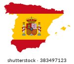 spain map  spain flag  vector... | Shutterstock .eps vector #383497123