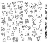 icons of women hand drawn... | Shutterstock .eps vector #383504113