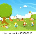 kids playing at park | Shutterstock .eps vector #383506213