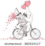 just married. hand drawn... | Shutterstock .eps vector #383524117