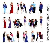 fashion model flat icons set... | Shutterstock .eps vector #383525593