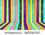 abstract colorful wooden wall... | Shutterstock . vector #383583247