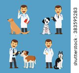 professional vet doctor with... | Shutterstock .eps vector #383595283