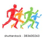 line colored silhouettes of... | Shutterstock .eps vector #383600263