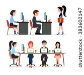 a group of people in the office.... | Shutterstock . vector #383602147