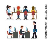 a group of people in the office.... | Shutterstock . vector #383602183