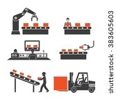 icons production lines of the... | Shutterstock . vector #383605603